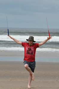 Zen with stunt kite at beach