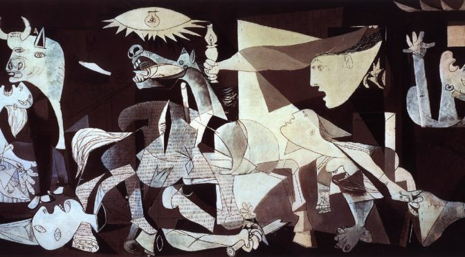 https://en.wikipedia.org/wiki/Guernica_(Picasso) by Pablo Picasso used to show Messoack view